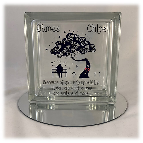 "Romantic ""Because of You..."" Light Up Glass Block"