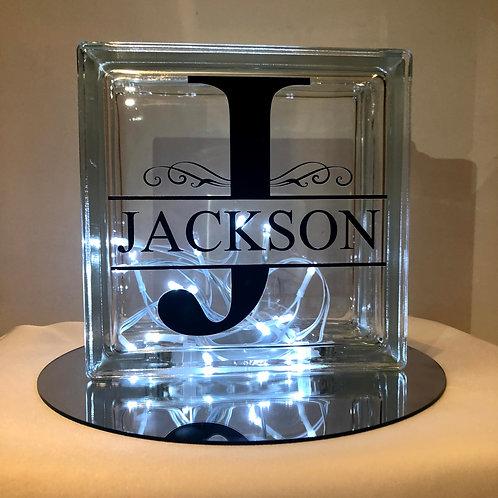 Personalised Light-Up Monogram Surname Glass Block