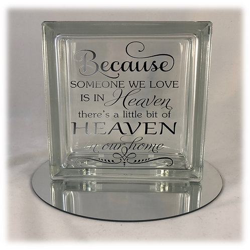 Because Someone We Love Is In Heaven Light Up Glass Block