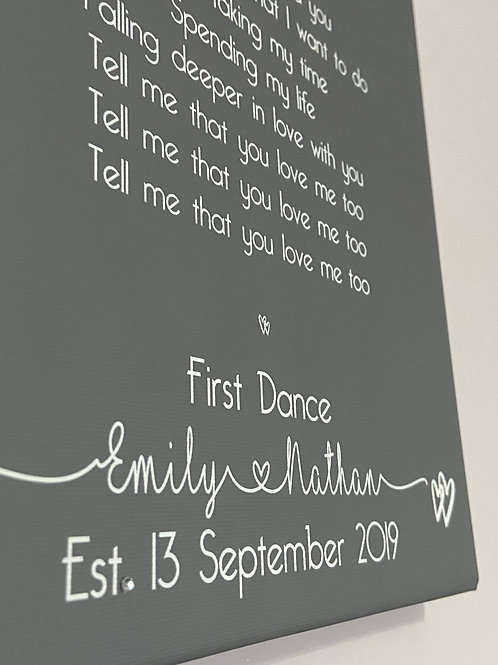 Personalised Wedding Song First Dance Lyrics Canvas