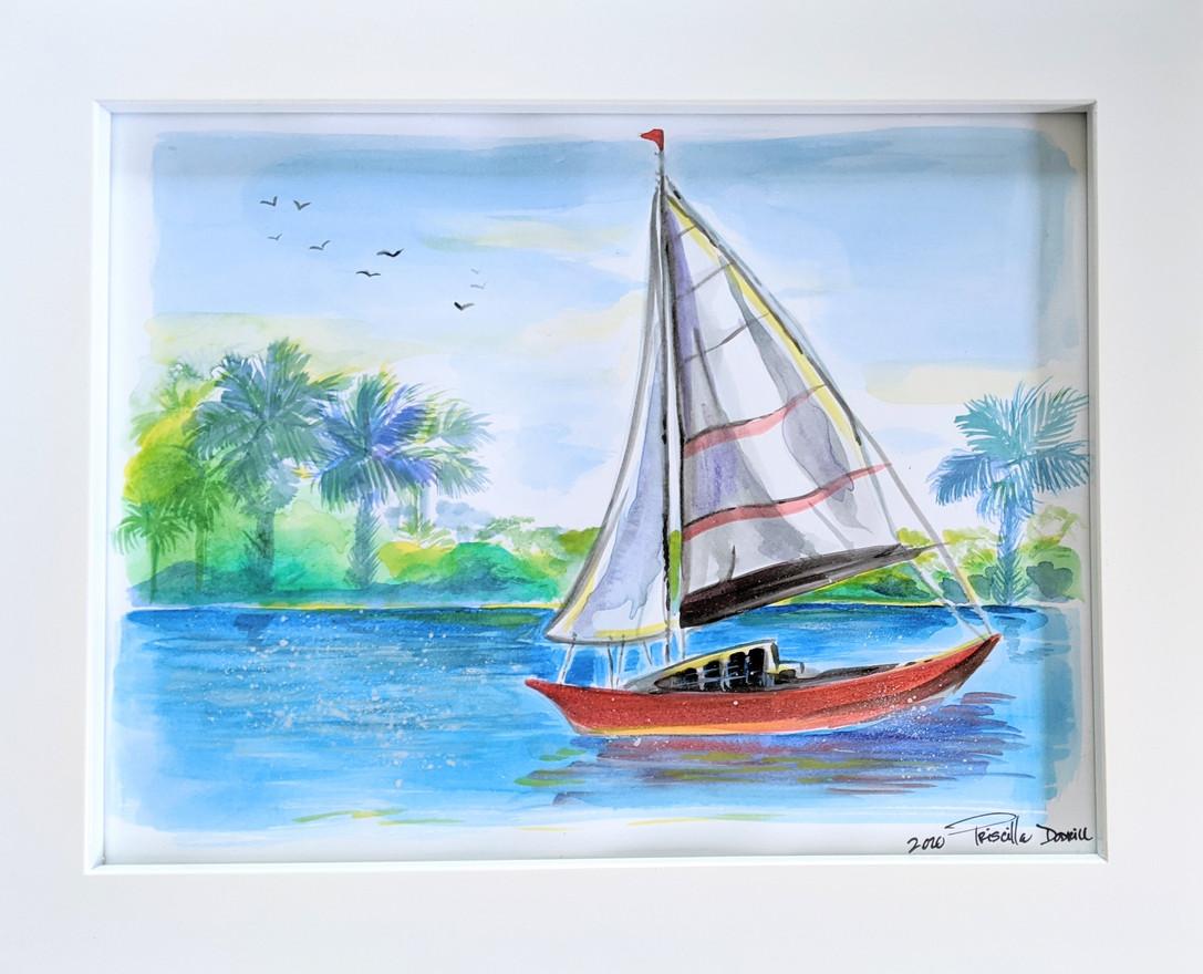 Sailboat on Shimmering Bay