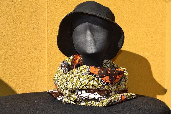Cuello - Braga Tela africana tonos marrón y naranja