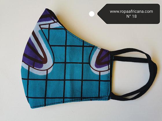 Mascarilla higiénica tela africana algodón 100% Filtro TNT N.18