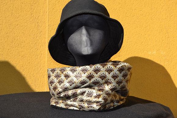 Cuello Braga en Tela africana Wax Plata y Marrón