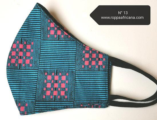 Mascarilla higiénica tela africana algodón 100% Filtro TNT N.13