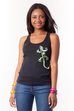 Camiseta negra Lagartija tela africana