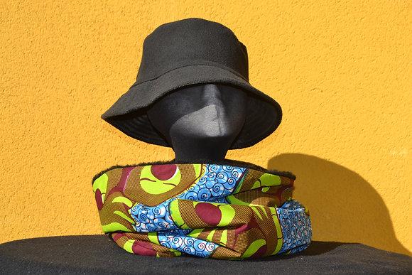 Cuello Braga en Tela africana Wax Azul y Verde