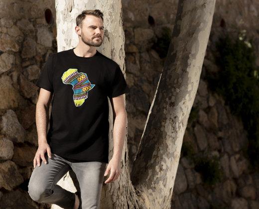 Camiseta Negra Manga Corta Africa