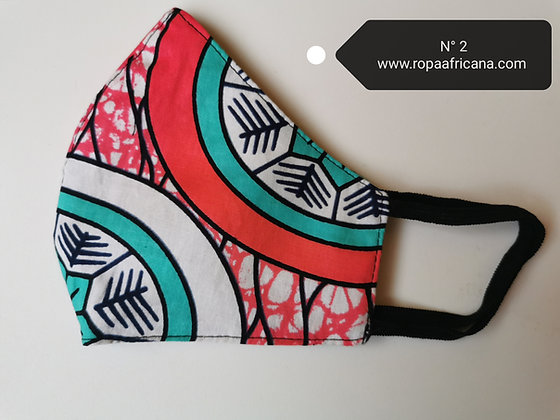 Mascarilla higiénica tela africana algodón 100% Filtro TNT N. 2