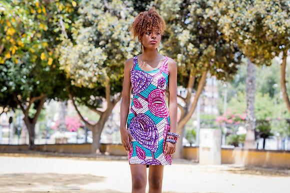 Vestido Alba Mixto Wax Multicolor - Moda africana