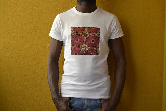 Camiseta Hombre Básica Blanca Wax African Print