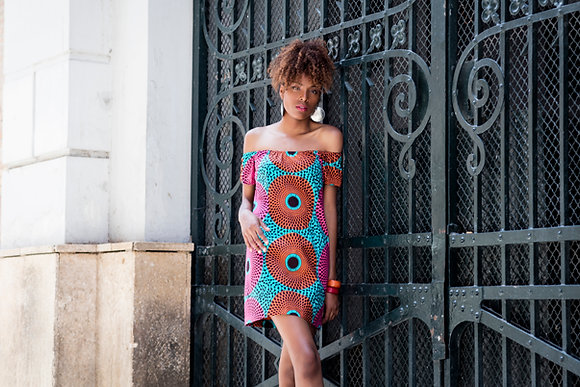 Vestido Africano Wax Mandala Rosa, Teja y Turquesa