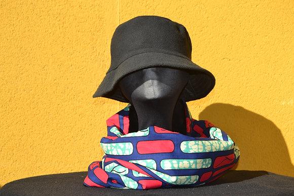 Cuello Braga en Tela africana Wax Rojo y Turquesa
