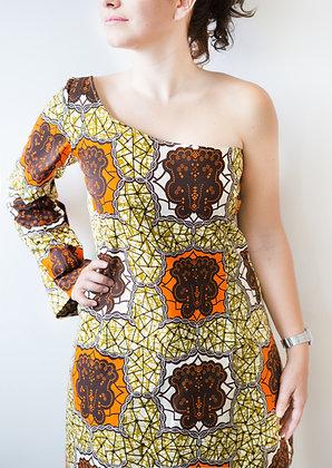 Vestido Africano1 Manga Wax Tierra