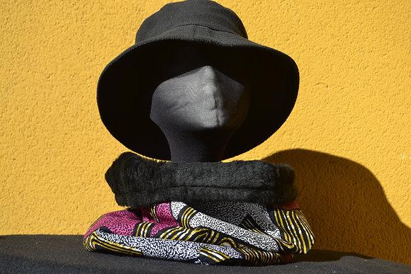 Cuello Braga en Tela africana Wax Fucsia y Negro