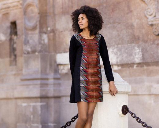 Vestido Evasé Negro África