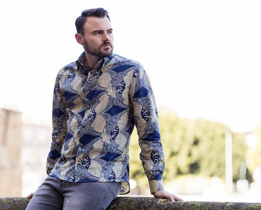 Camisa Slim Hombre Tonos Azules