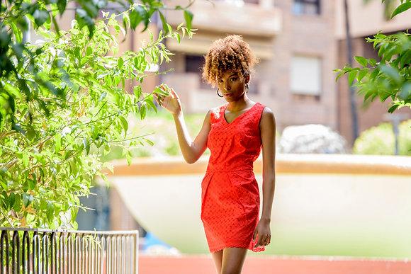 Vestido Carolina Moda Africana Tela Brodé Roja - Ropa africana