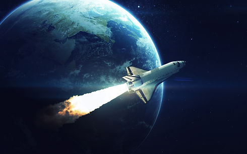 Space shuttle orbiting Earth planet. Ele