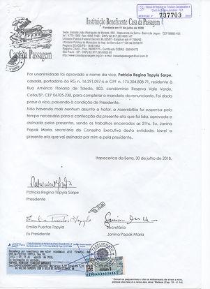 Ata de renuncia de Emilia Puertas Topyla