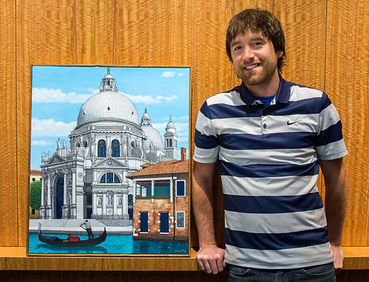 Me with my painting Santa Maria della Salute that won the staff art show contest at the Seattle Art Museum