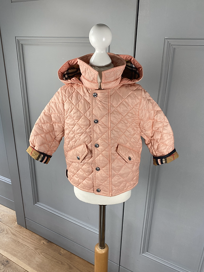 Girls BURBERRY Hooded Diamond Quilted Jacket Dusty Pink  (18mths)