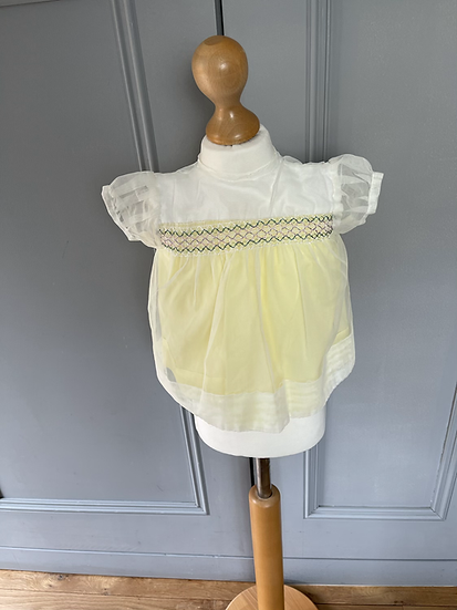 Vintage Girls yellow/white dress 3mths