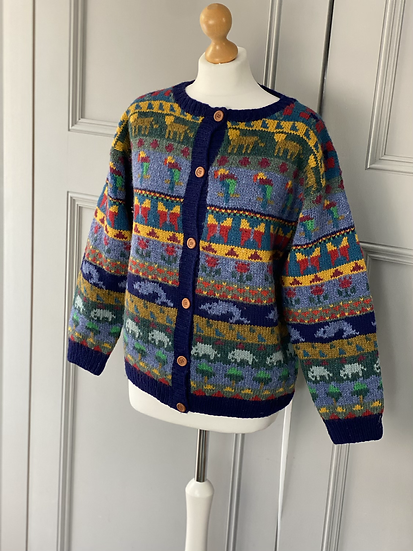 Vintage LL Bean bright wool animal cardigan. Uk10/12