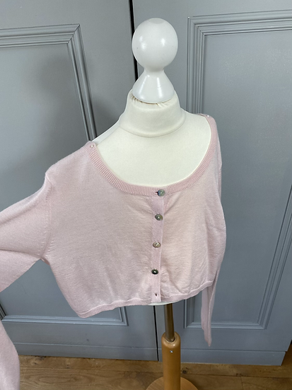 Girls/women's Crumpet 100% cashmere pink cardigan. 10-14yrs/uk6-10