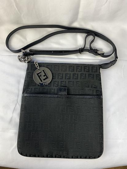 Fendi black cross body cloth bag