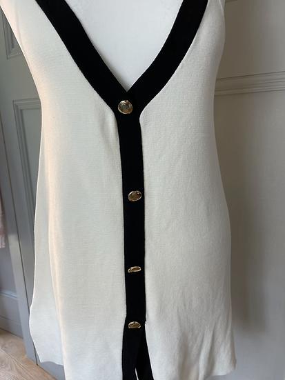 Zara knit button up vest UK M