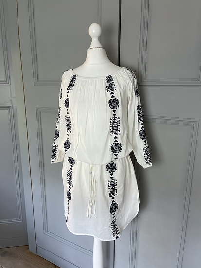 BNWT Pampelone white embroidered dress Uk L rrp£145