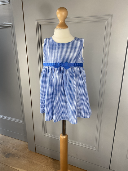 Girls 2yrs Rachel Riley blue/white houndstooth pinafore dress.