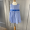 Thumbnail: Girls 2yrs Rachel Riley blue/white houndstooth pinafore dress.