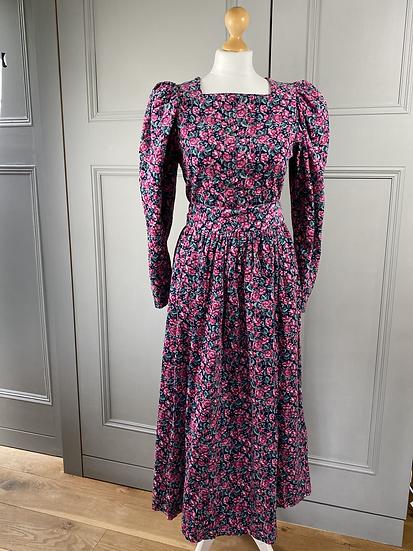 Vintage Laura Ashley navy/pink needlecord dress UK10/14