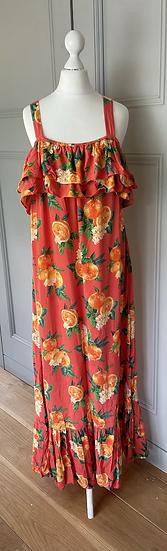 Monsoon orange maxi sun dress UK M