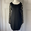 Thumbnail: DVF black knitted dress with chiffon  gold sleeves and back. Small