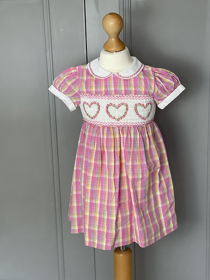 Girls pink Rachel Riley smocked dress age 2
