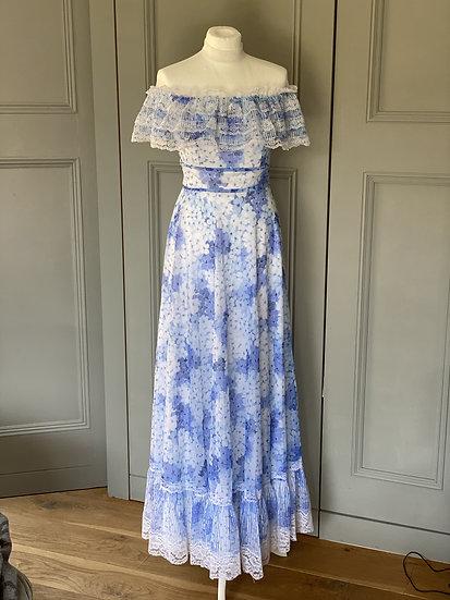 Vintage 70s dreamy blue maxi lace dress (UK8-10)