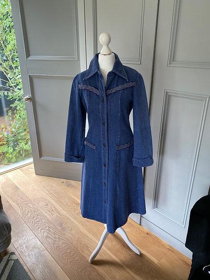 Vintage 70s denim dress with plait detail UK10/12