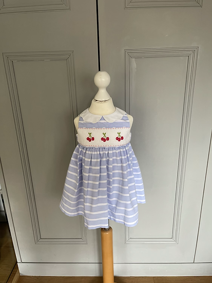 Confiture/Trotters girls blue and white cherry dress age 2