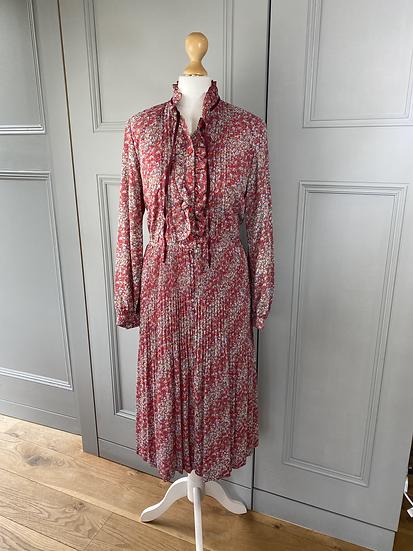Vintage red chiffon ruffled dress with metallic thread. Uk10