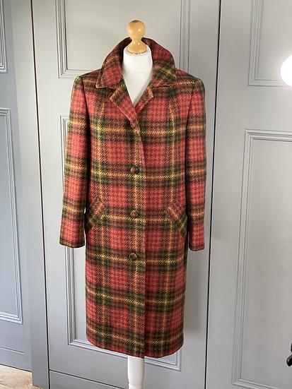 Vintage Aquascutum wool check coat UK10
