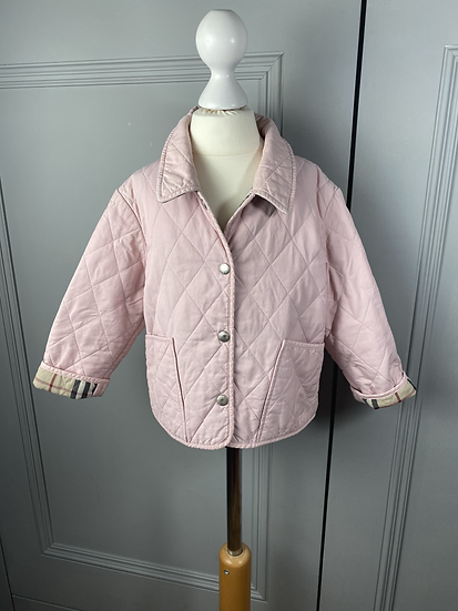 Girls light pink BURBERRY quilted jacket. 3YRS