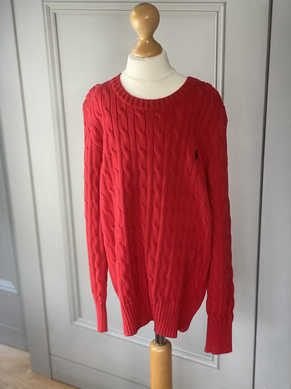 Red cable knit Ralph Lauren jumper 10-12yrs