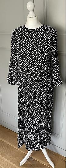 Zara black and white polka dot dress UK M