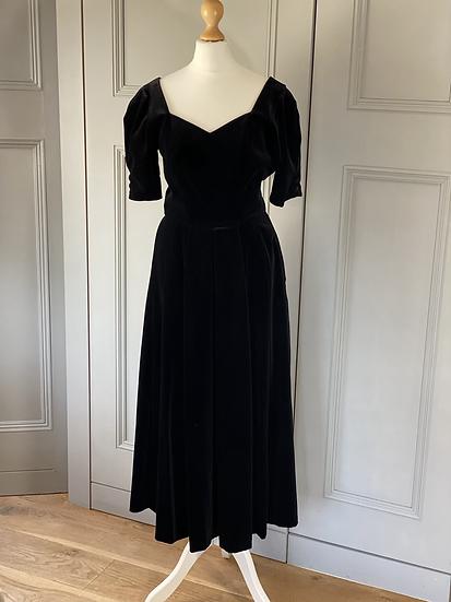 Vintage Laura Ashley black velvet dress. Modern uk10