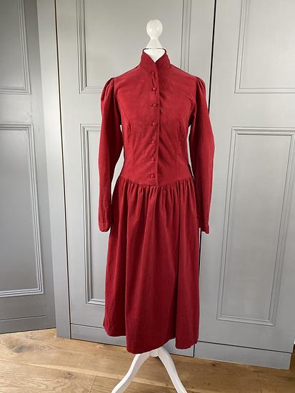 Vintage Laura Ashley red needlecord Victorian style dress UK8/10