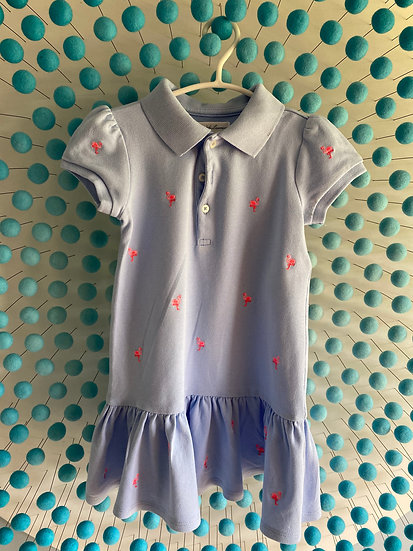 Girls RL blue t-shirt dress with embroidered pink flamingos (18 months)