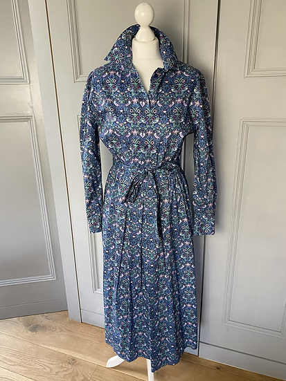 Vintage Liberty (NEW) shirt dress in navy/pink/purple strawberry thief. 8-12
